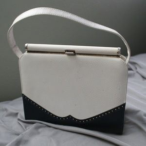 White & Navy Clutch Vintage 50's Rare Purse!